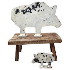 Pair iron pig shooting targets