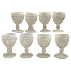 Set of 8 Fenton opalescent hobnail glasses