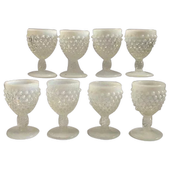 Set of 8 Fenton opalescent hobnail glasses