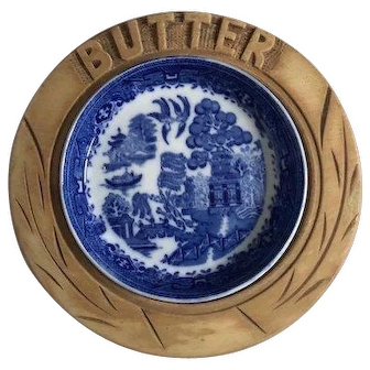 English treenware carved wood butter dish