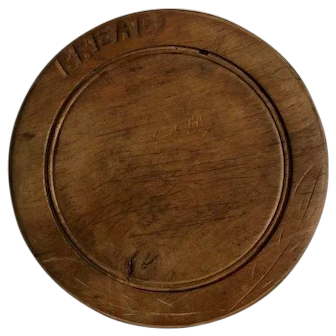 Carved treen wooden bread board