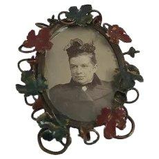 Miniature tole painted enamel picture frame