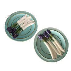 Pair of French majolica asparagus plates in vibrant blue