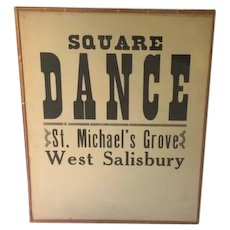 1933 poster advertising a church square dance, Pennsylvania provenance