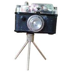Occupied Japan miniature camera lighter on tripod stand