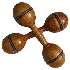 Pair of wooden dumbbells exercise weights with great surface