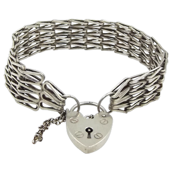 Sterling Silver Gate Bracelet With Heart Padlock