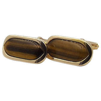 9ct Gold Tiger's Eye Cufflinks