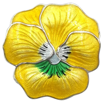 Sterling Silver Yellow Enamel Pansy Brooch