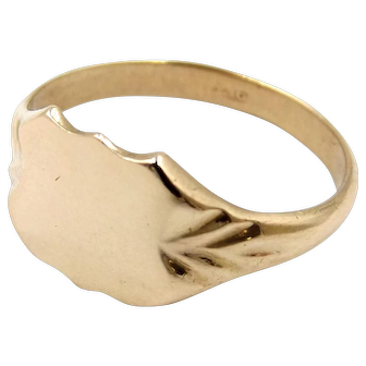 Antique 9ct Rose Gold Signet Ring Size 9.5