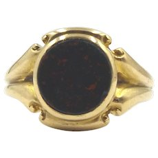Antique 18ct Gold & Bloodstone Signet Ring US size 7.5