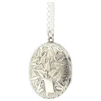 Victorian Sterling Silver Locket Necklace