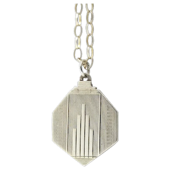 Sterling Silver Art Deco Locket Necklace By Herbert Bushell & Son ltd