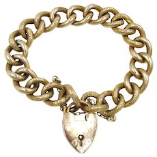 Victorian 9ct Rose Gold Curb Link Bracelet With Padlock