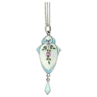 Antique Sterling Silver Guilloche Enamel Pendant By JA&S