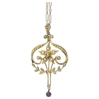 Antique 9ct Gold, Amethyst & Pearl Lavalier Pendant