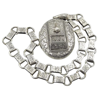 Sterling Silver Antique Locket With A Bookchain