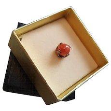 1960's Men's Coral Bead Gold Sterling Vermeil Tie Tac