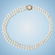 Classic 14K Gold Double Strand White Coral 6.4mm Bead Necklace 42 grams