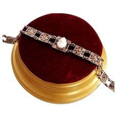 1940's 800 Silver Shell Cameo Filigree Panel Bracelet