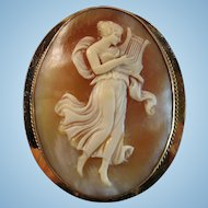 Edwardian Full Body Muse Erato Shell Cameo Rolled Gold Brooch