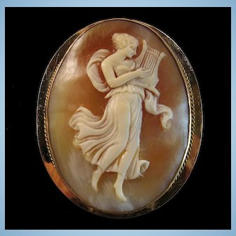 Elegant Edwardian Full Body Erato Shell Cameo Rolled Gold Brooch