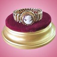 1940's Sardonyx Shell Cameo Gold Fill Sweetheart Expansion Bracelet