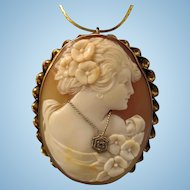 "1-7/8"" 14K Gold Shell Cameo Diamond Habille Pendant Brooch"