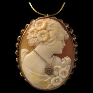 14K Gold Shell Cameo Diamond Habille Pendant Brooch