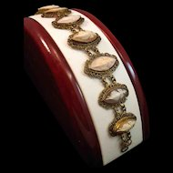 Victorian Nine Muses Shell Cameo Gold Gilt Bracelet