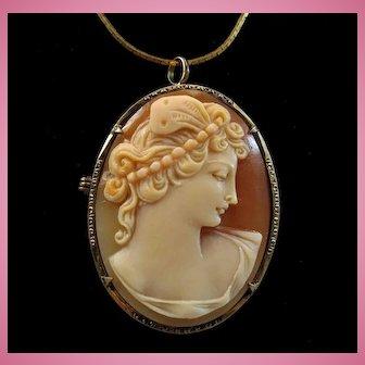 Psyche Bride of Cupid Shell Cameo 800 Silver Gilt Brooch Pendant