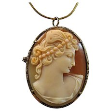 Psyche Bride of Cupid Shell Cameo 800 Silver Gilt Brooch Pendant
