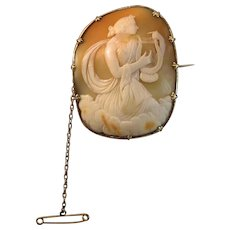 """2-1/8"""" Grand Victorian Muse Terpsichore Shell Cameo Brooch Rolled Gold"""