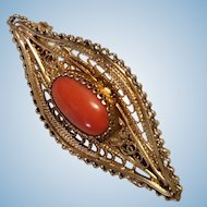 Striking Victorian Coral Cabochon Collar Pin Spun 800 Silver Vermeil
