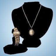 New Old Stock Fleetwood GF Shell Cameo Expansion Bracelet & Pendant Necklace Suite