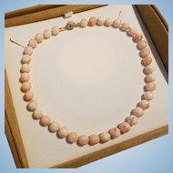"Divine 18.5"" 14K Angel Skin Coral 9.9-11.8mm Bead Necklace - 67.6 grams"