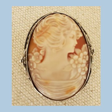 "Antique 1-7/8"" Sterling Silver Gibson Girl Shell Cameo Brooch"