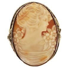 """Antique 1-7/8"""" Sterling Silver Gibson Girl Shell Cameo Brooch"""