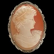 Sassy Mid Century Shell Cameo 925 Silver Marcasites Brooch Pendant