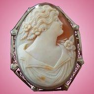 """Elegant 1-3/4"""" 14K White Gold Shell Cameo Brooch Pendant 12 grams"""