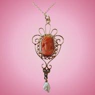 """Art Nouveau 14K Gold Coral Cameo Lavaliere Pendant 18"""" 14K Chain"""