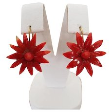Gorgeous Carved Moro Red Coral Chrysanthemum Flower Earrings Pierced Wires