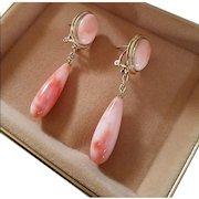 Marvelous 14K Pink Angel Skin Coral Cabochon & Torpedo Drop Earrings 11.4 grams