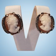 Beautiful 800 Silver & Marcasite Shell Cameo Earrings