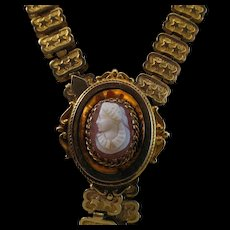 Victorian 12ct Rolled Gold Hard Stone Cameo Book Chain Necklace