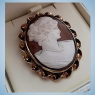Beautiful Mid Century HG 12K GF Shell Cameo Goddess Juno Brooch Pendant