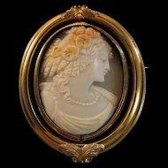 Large Victorian 10K Gold Shell Goddess Cameo Swivel Memento Brooch