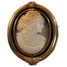 Large Victorian 10K Gold Shell Goddess Cameo Swivel Memento Brooch