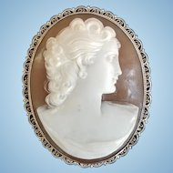 1930's Beauty 800 Silver Sardonyx Shell Portrait Cameo Brooch Pendant