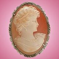 Sassy Mid Century Shell Cameo 925 Silver Marcasites Brooch Pendant